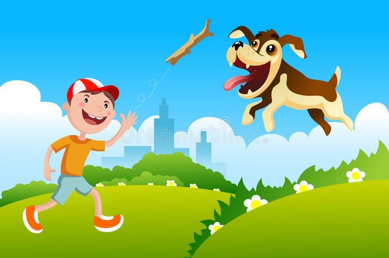 Junge, der mit dem Hund spielt lizenzfreie abbildung