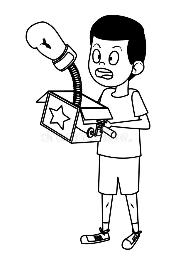 Junge, der mit dem Witzkasten Schwarzweiss überrascht ist vektor abbildung