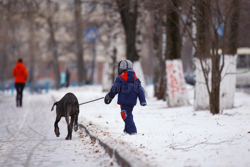 Junge, der mit einem großen Hund im Winterpark geht stockbild