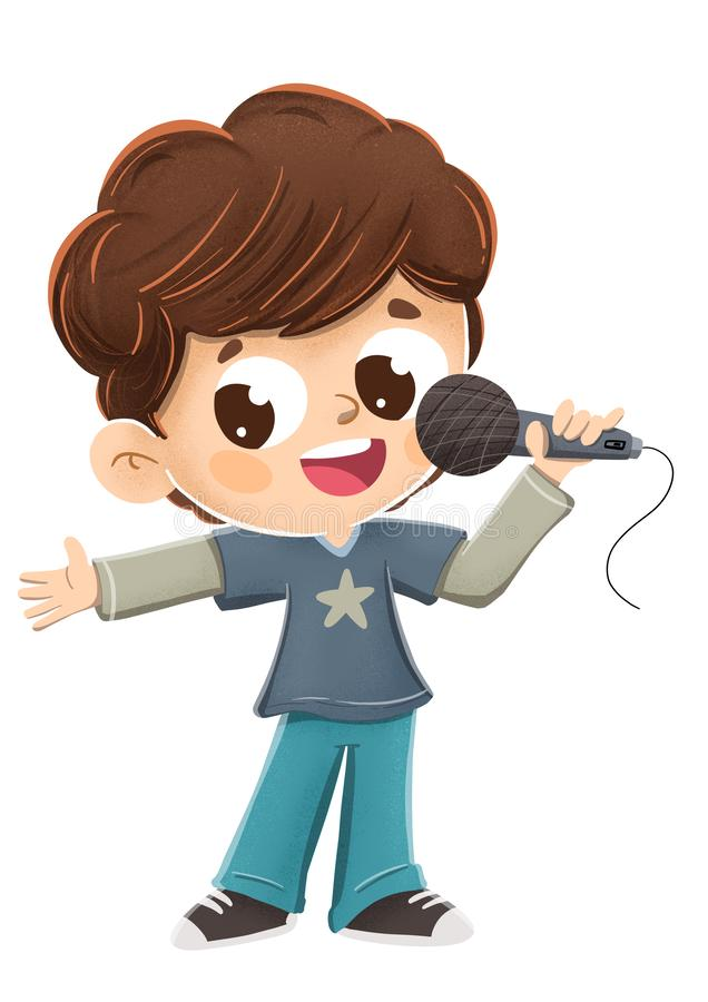 Junge, der mit einem Mikrofon singt oder ein Darstellen tut stock abbildung