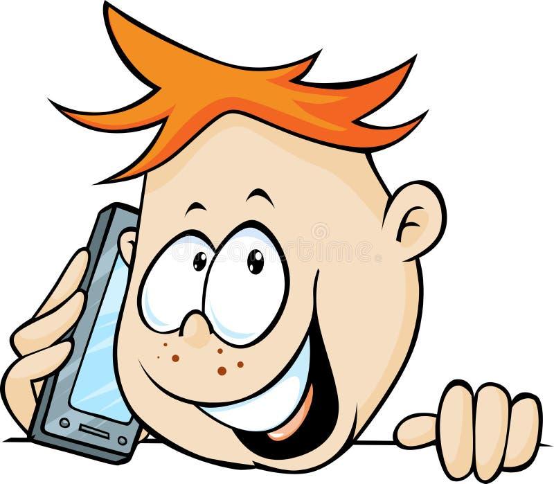 Junge, der mit Mobil-Telefon, aus- Vektor spähend nennt stock abbildung