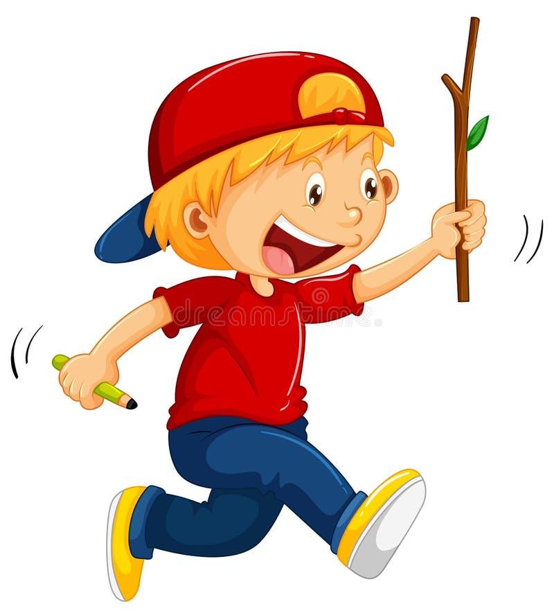 Junge, der mit Stock und Bleistift in den Händen läuft lizenzfreie abbildung