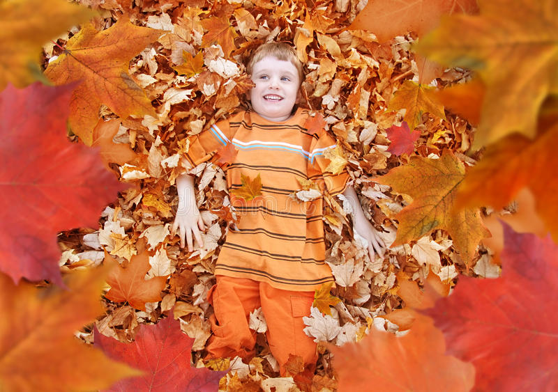 Junge, der oben orange Autumn Fall Leaves betrachtet stockfotos