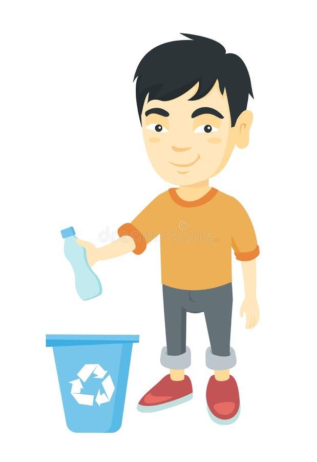 Junge, der Plastikflasche im Papierkorb wirft stock abbildung