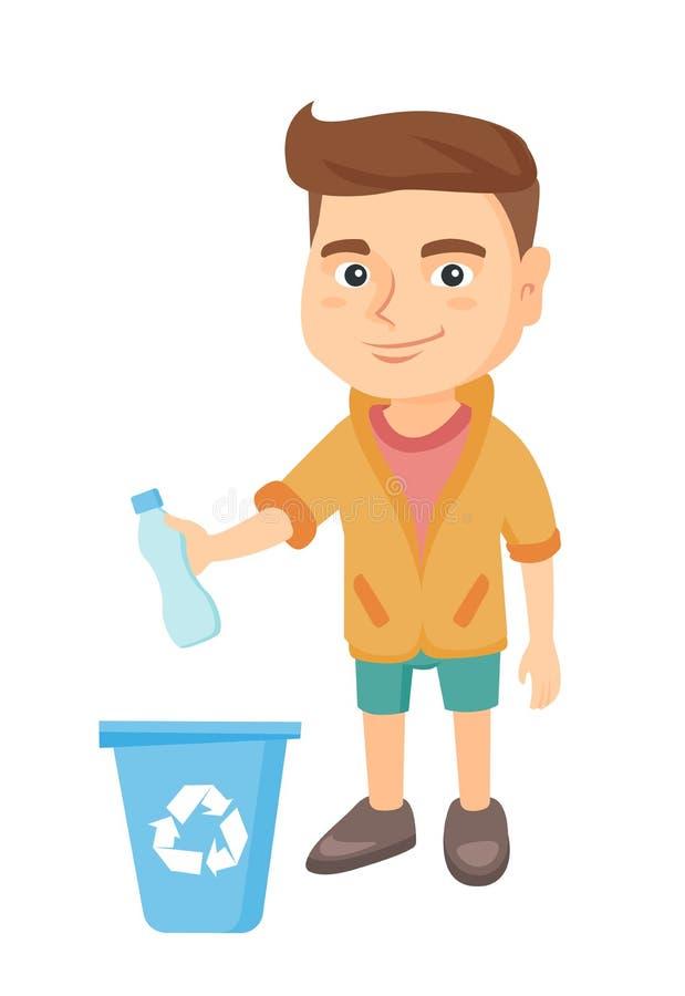 Junge, der Plastikflasche im Papierkorb wirft lizenzfreie abbildung