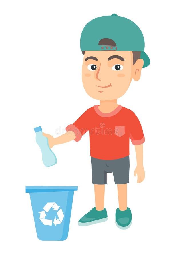 Junge, der Plastikflasche im Papierkorb wirft vektor abbildung