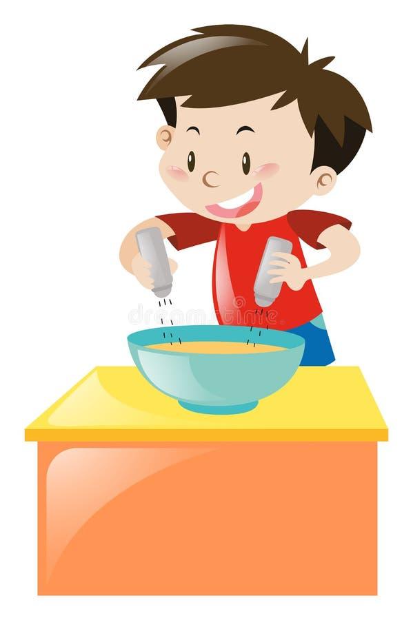 Junge, der Salz und Pfeffer in Suppe einsetzt lizenzfreie abbildung