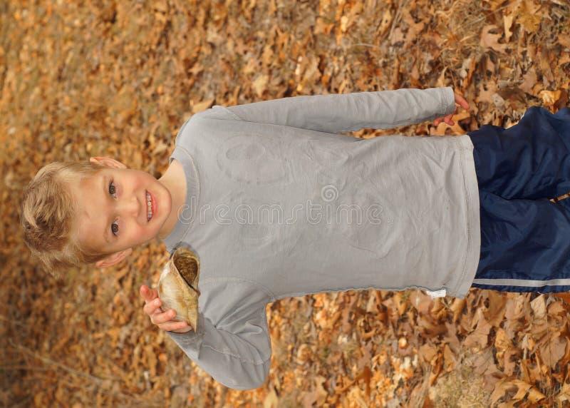 Junge, der Schildkrötenpanzer hält lizenzfreies stockfoto