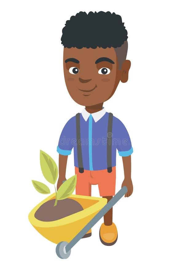 Junge, der Schubkarre mit Boden und Anlage drückt lizenzfreie abbildung