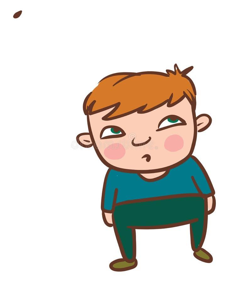 Junge, der sich den herabfallenden Blattvektor oder Farbillustrierung ansieht lizenzfreie abbildung
