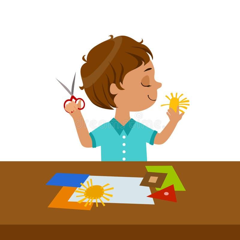Junge, der Sun-Form für Papierapplikation, Volksschule Art Class Vector Illustration schneidet lizenzfreie abbildung