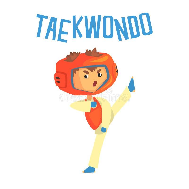 Junge, der in Taekwondo-Uniform kämpft Bunte Zeichentrickfilm-Figur-Vektor Illustration vektor abbildung
