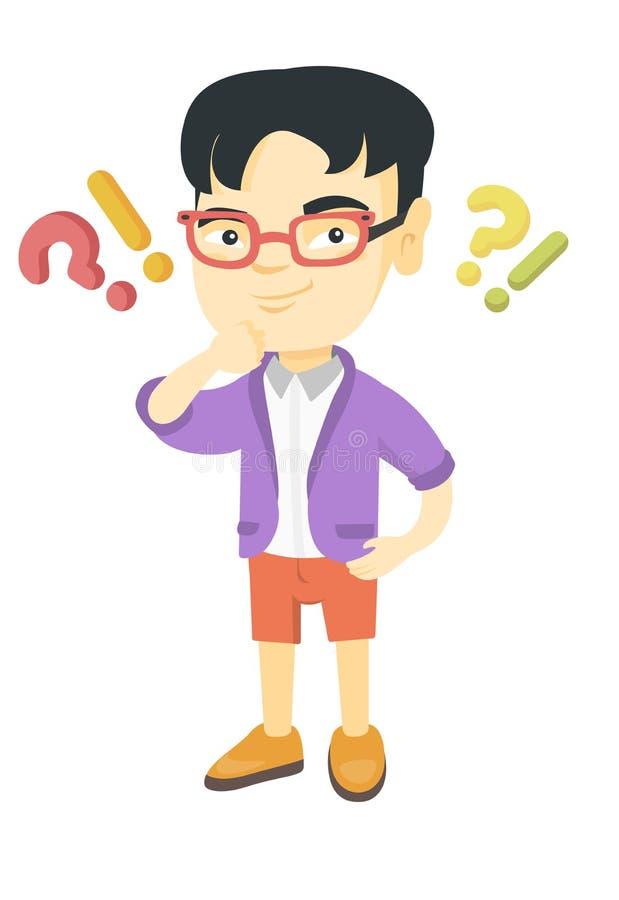Junge, der unter Frage und Ausrufezeichen steht vektor abbildung