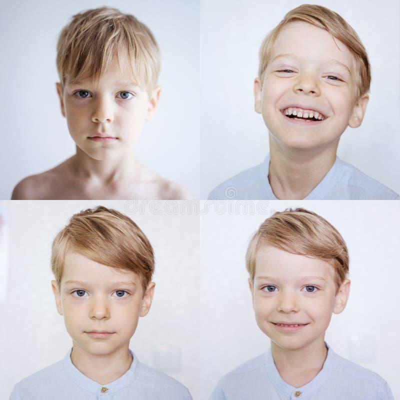 Junge, der verschiedene Gefühle ausdrückt stockbild