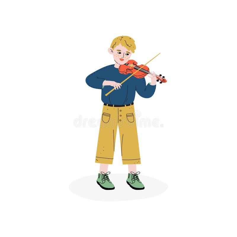 Junge, der Violine, begabten kleinen Musiker Character, Hobby, Ausbildung, kreative Entwicklung des Kindess-Vektor-Illustration s lizenzfreie abbildung