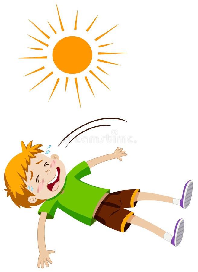 Junge, der vom Hitzeschlag krank sich fühlt stock abbildung