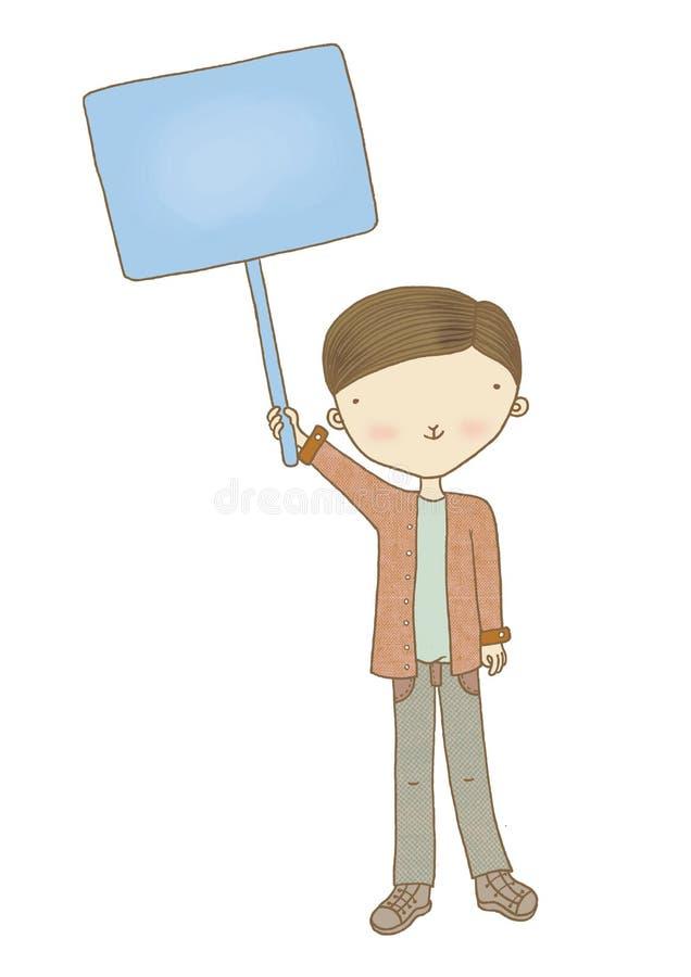 Junge, der Zeichen hält stockfotos