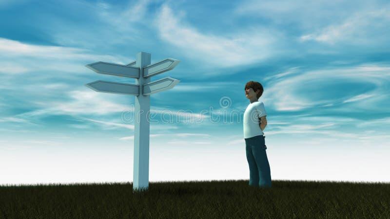 Junge, der Zeichen schaut und Entscheidungen trifft lizenzfreies stockfoto