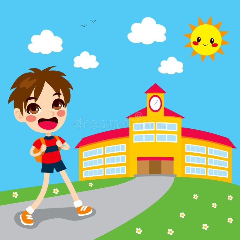 Junge, der zur Schule geht lizenzfreie abbildung