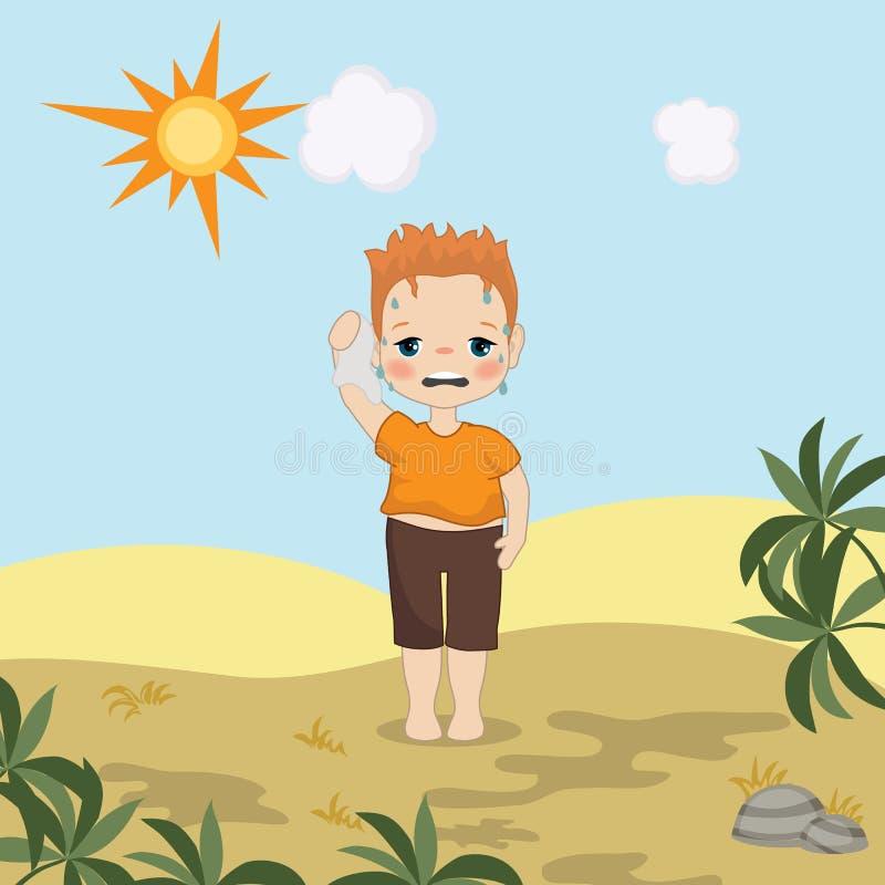 Junge des heißen Wetters lizenzfreie abbildung
