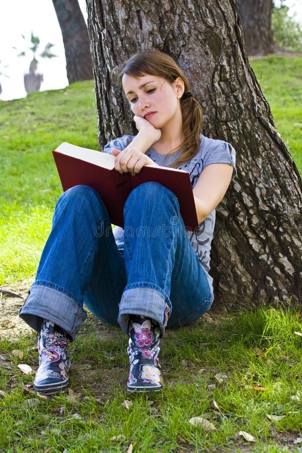 Junge, die ein Buch genießen lizenzfreies stockbild