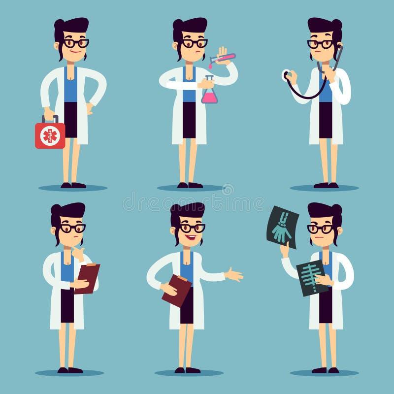Junge Doktorfrau, lächelnde Charaktere der Frauenkrankenschwester im verschiedenen Aktionsvektorsatz vektor abbildung