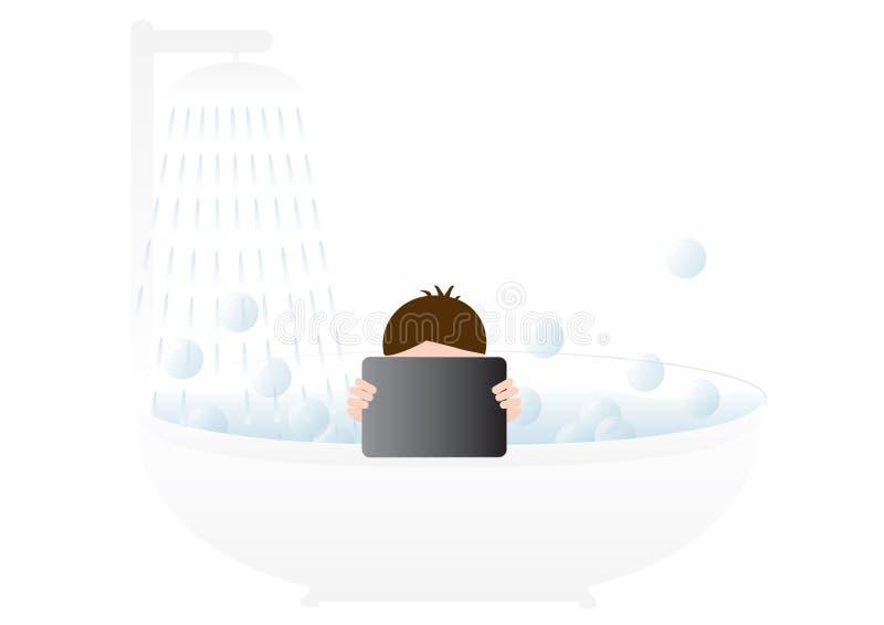 Junge in einem Bad lizenzfreie abbildung