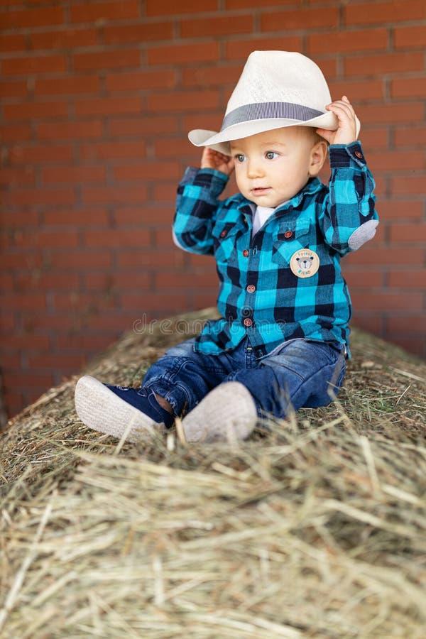 Junge in einem Hut, der auf Heu sitzt stockfotos