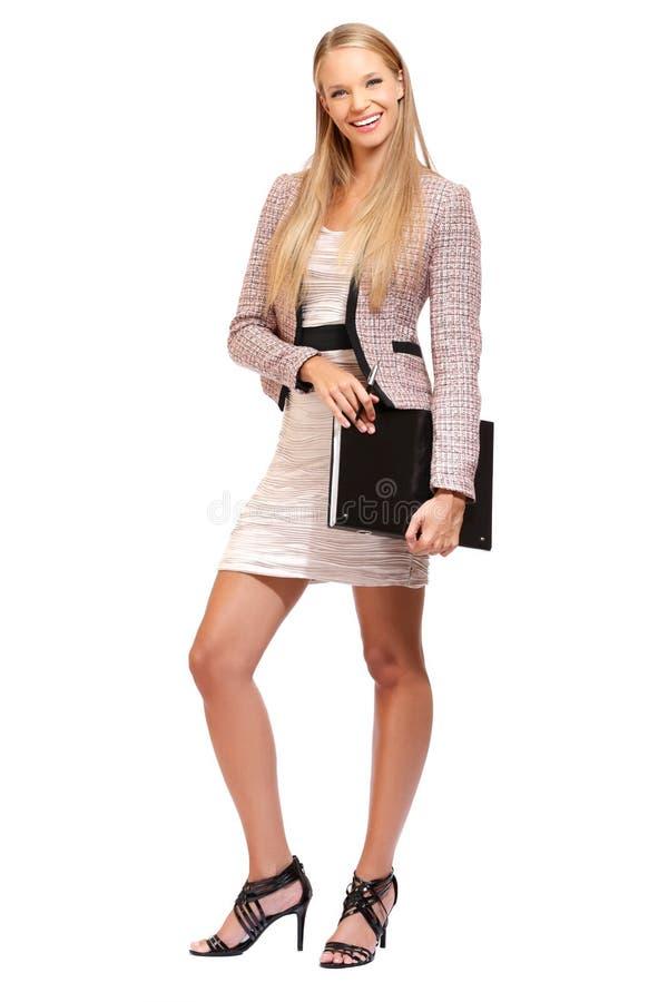 Junge elegante Geschäftsfrau getrennt auf Weiß stockbild