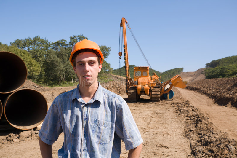 junge engineer.oil Rohrleitung lizenzfreies stockfoto