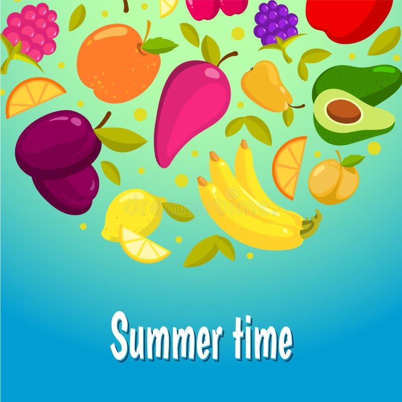 Junge Erwachsene Bunter Hintergrund mit Früchten stock abbildung