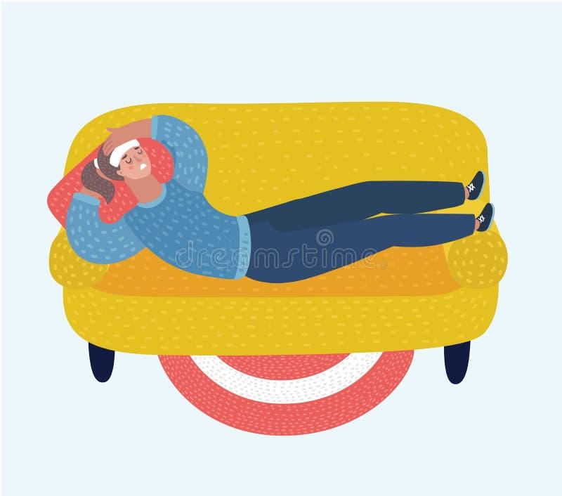 Junge erwachsene Frau, die auf Sofa mit Krankheit liegt Kranke Frau stillstehend oder oben auf Couch gelegt vektor abbildung