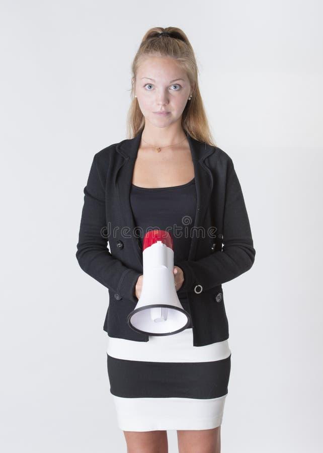 Download Junge Erwachsene Frau, Die Ein Megaphon Anhält Stockfoto - Bild von nachrichten, schön: 26373052