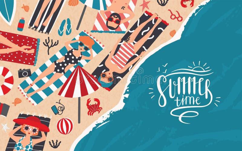 Junge Erwachsene Horizontale Werbungsfahne der Erholung, entspannen sich, reisen Thema Modische junge Leute nehmen auf Strand ein vektor abbildung