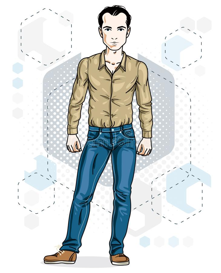 Junge erwachsene Mannstellung der glücklichen Brünette Vektorcharaktertragen stock abbildung