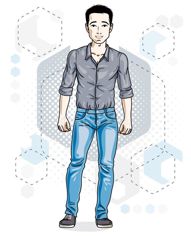 Junge erwachsene Mannstellung der glücklichen Brünette Vektorcharaktertragen vektor abbildung