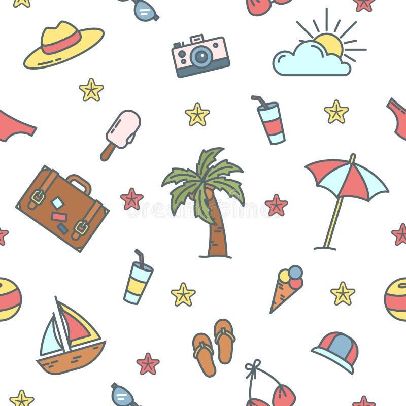 Junge Erwachsene Seeferien-nahtloses Muster mit Palme und Badeanzug lizenzfreie abbildung