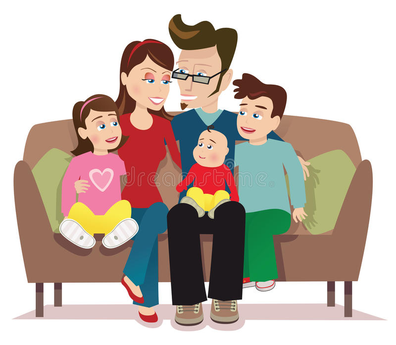 Junge Familie auf Sofa in rosafarbenem Raum 3 vektor abbildung