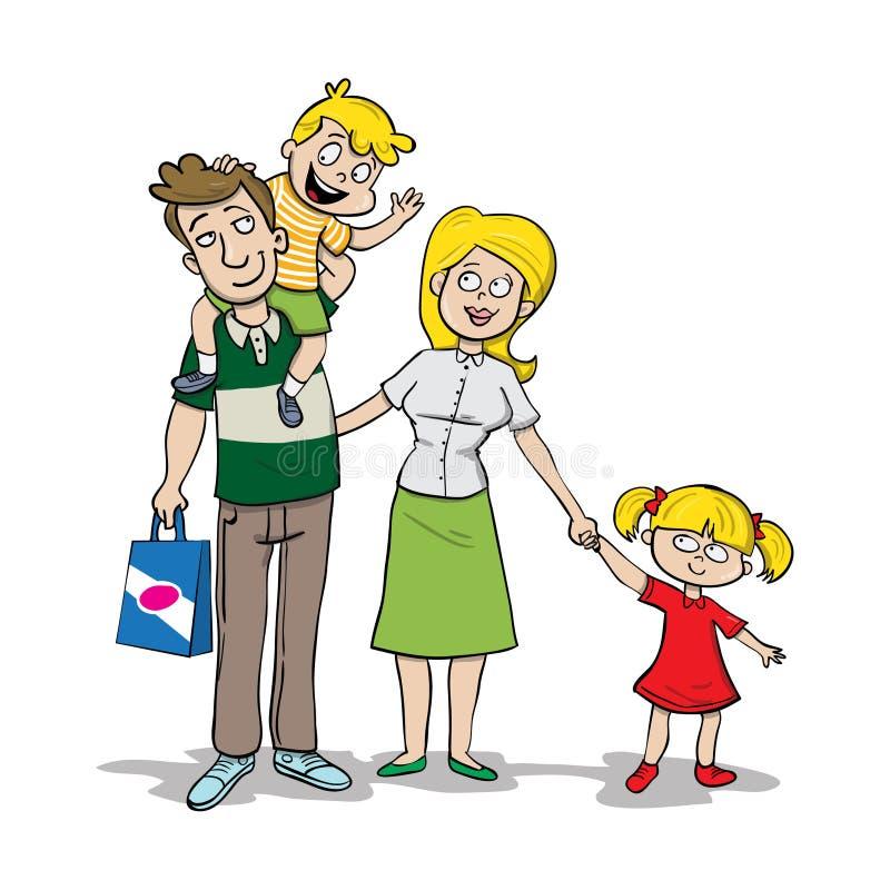 Junge Familie des Muttervatersohns und -tochter stock abbildung