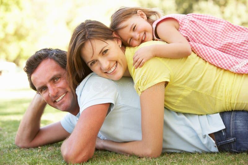 Junge Familie, die im Park sich entspannt stockfotos