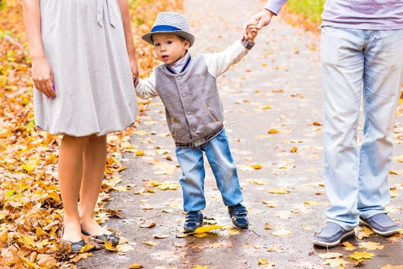 Junge Familie, die in Park geht Erzieht Händchenhalten des kleinen Baby-Sohns vom beide Seiten-herbstlichen bunten Wald an stockfotos