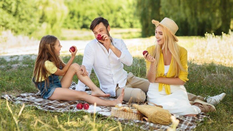 Junge Familie, die Picknick in der Landschaft auf Gras hat stockfotografie