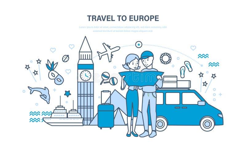 Junge Familie, gemeinsame Ferien des Griffs, im Sommer in Europa lizenzfreie abbildung