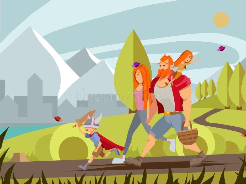 Junge Familie mit kleinem Jungen und dem Mädchen, die in Park geht Karikatur V stock abbildung
