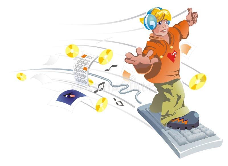 Junge fliegt auf die Tastatur. lizenzfreie abbildung
