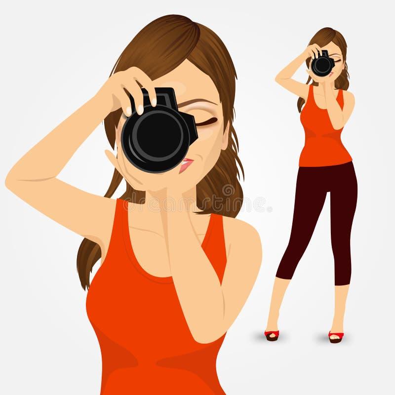 Junge Fotograffrau, die Fotos macht vektor abbildung