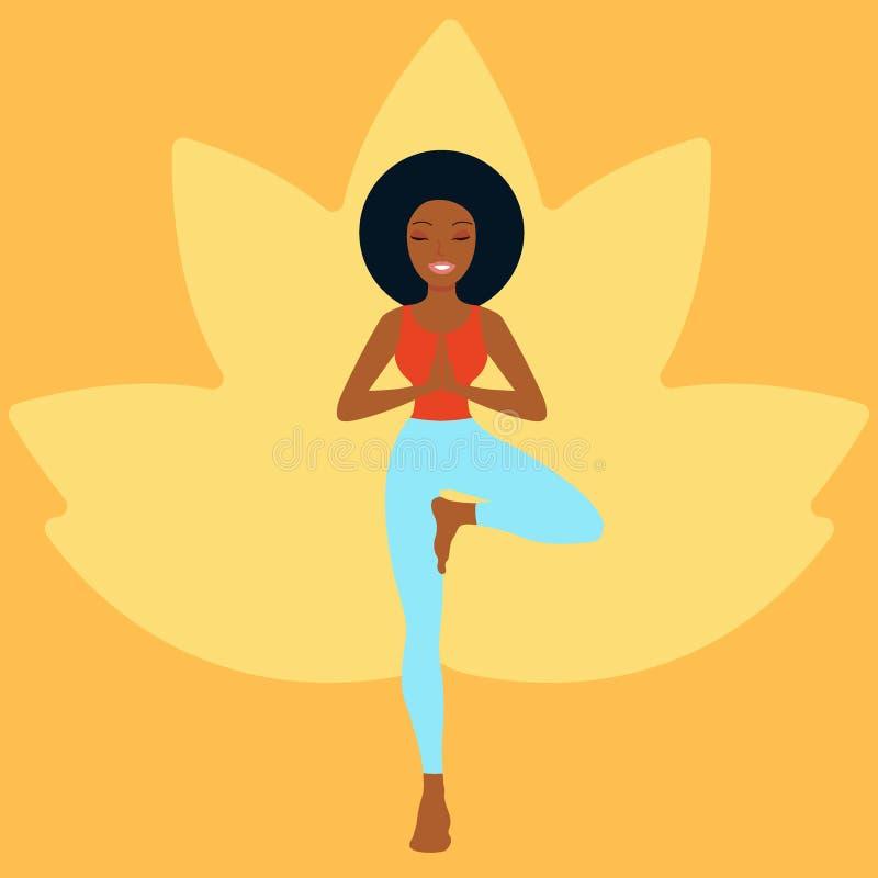 Junge Frau übendes Yoga vektor abbildung