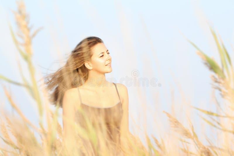 Junge Frau auf dem Gebiet stockbilder