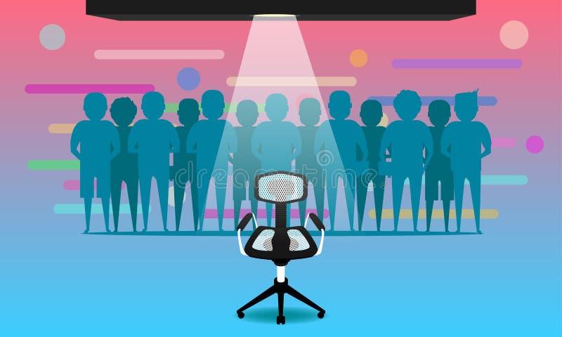 Junge Frau auf dem Strand von Formentera-Insel wir stellen an und neue Jobteammitglieder ein Stuhl für Kandidaten Verbinden Sie u stock abbildung