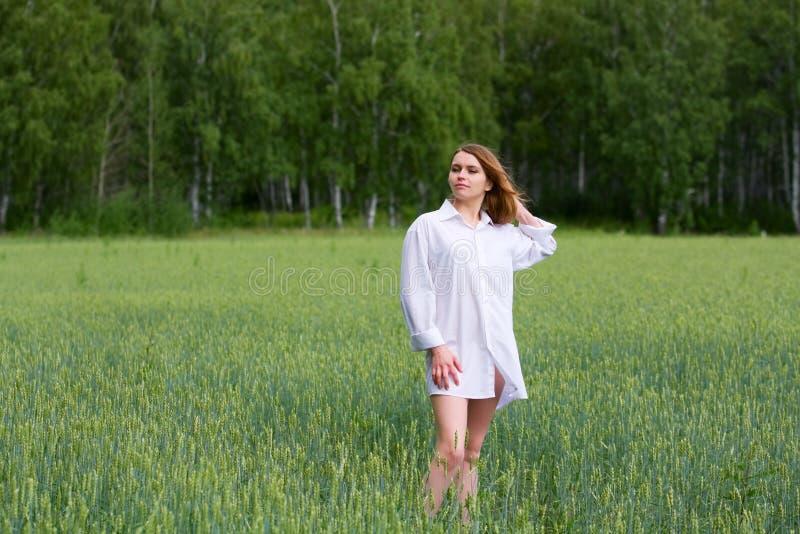 Junge Frau auf einem Gebiet. lizenzfreie stockfotos